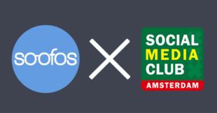 Logo's van soofos en social media club amsterdam symboliseren de samenwerking tussen beiden