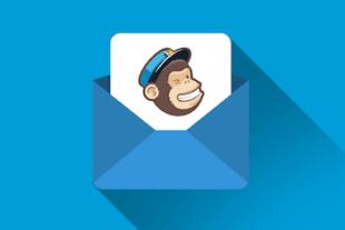 Online cursus mailchimp met het logo van mailchimp op een e-mail