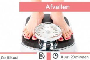 Vrouw die op een weegschaal staat en gewicht verliest dankzij de online cursus afvallen