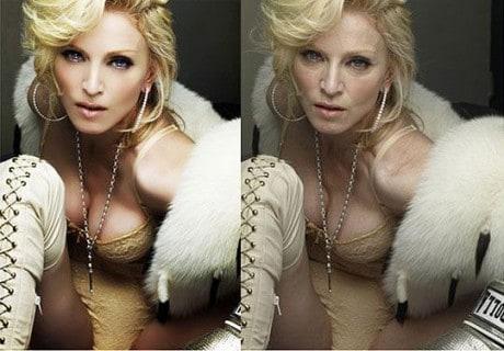 Voor en na effect van photoshopped van een vrouw