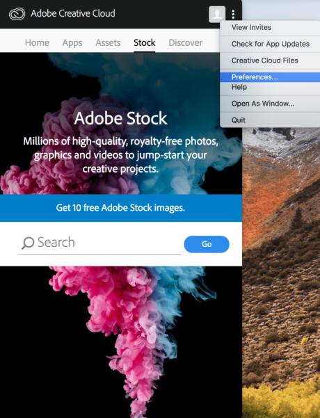 (Taal wijzigen van CC op Mac) Stap 2: Selecteer preferences of voorkeuren.