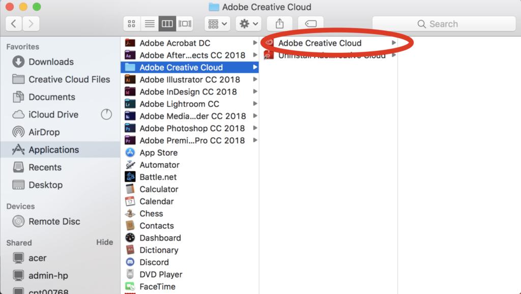 (Taal wijzigen van CC op Mac) Stap 1: Alternatieve manier om de CC te openen.