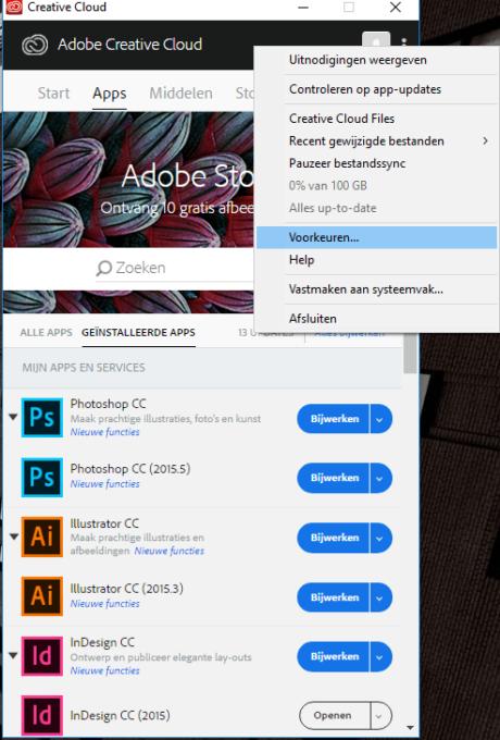 (Taal wijzigen van CC op Windows) Stap 2: Selecteer voorkeuren of preferences.