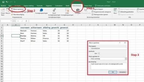 Macro maken in Excel: Stap 1