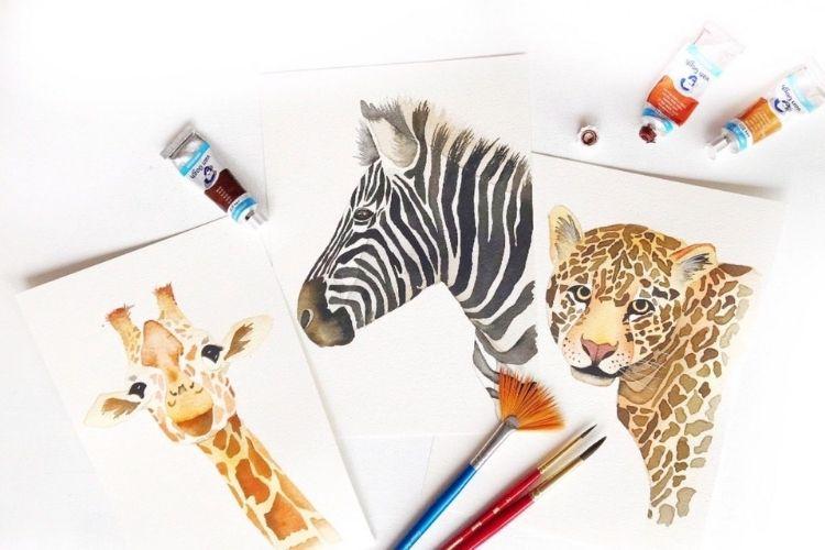 In de cursus Aquarel: Safari Animals leer je om de giraffe, jaguar en zebra te schilderen